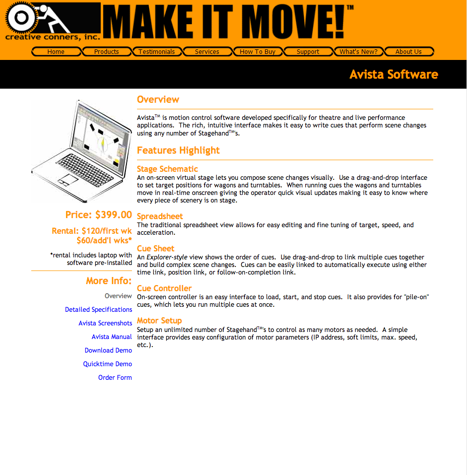 Creative Conners website circa 2004 - Avista Cueing Software