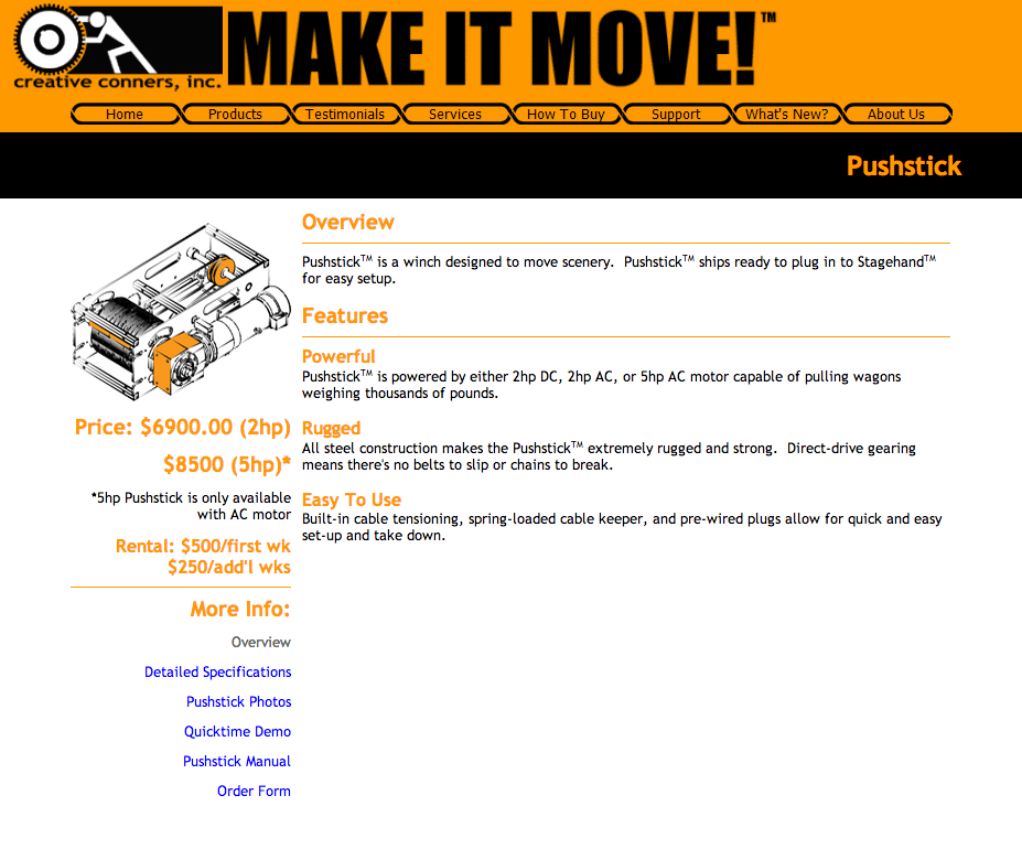 Creative Conners website circa 2004 - Pushstick theater winch