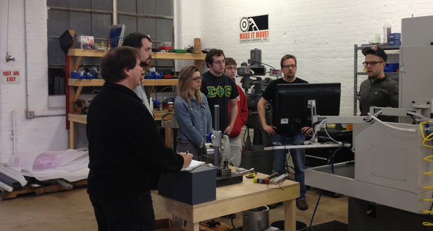 The students from UConn's automation in theatre class visit the Creative Conners shop