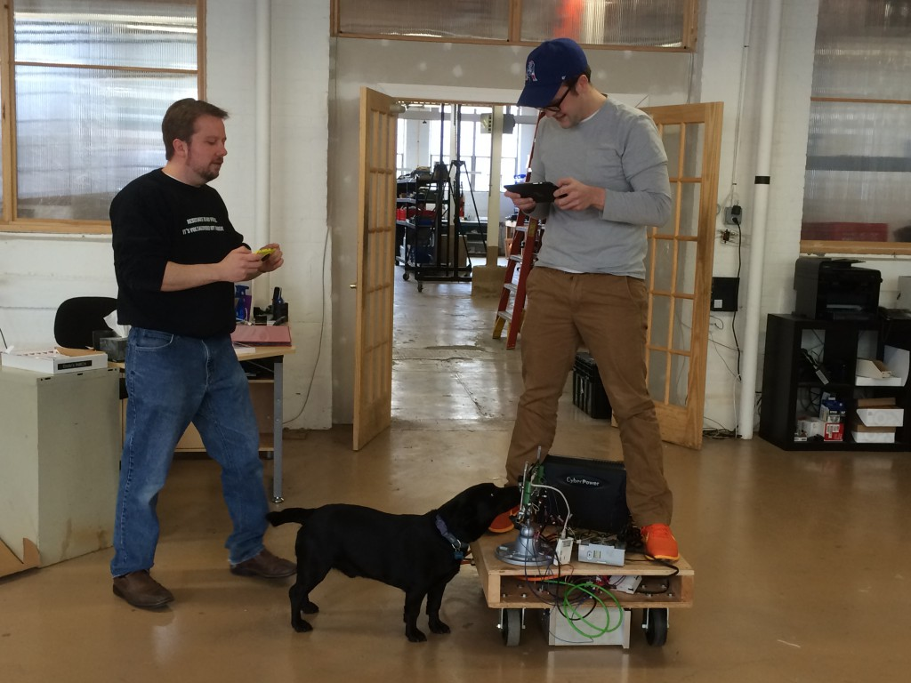 Gareth and Royal (and Sprocket) testing out motion control with servo motors.